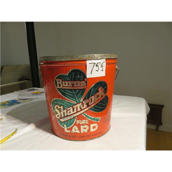 "20 lb vintage Shamrock lard tin - 10"" tall"