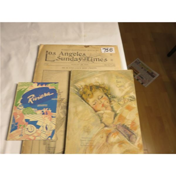 1901 Los Angeles paper; 1934 San Francisco baby book, French hospital, Menu Riviera Restaurant, San