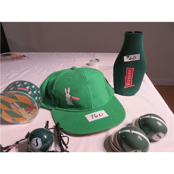 Pilsner cap, coasters & bottle cooler. Salt & Pepper Roughrider helmet radio