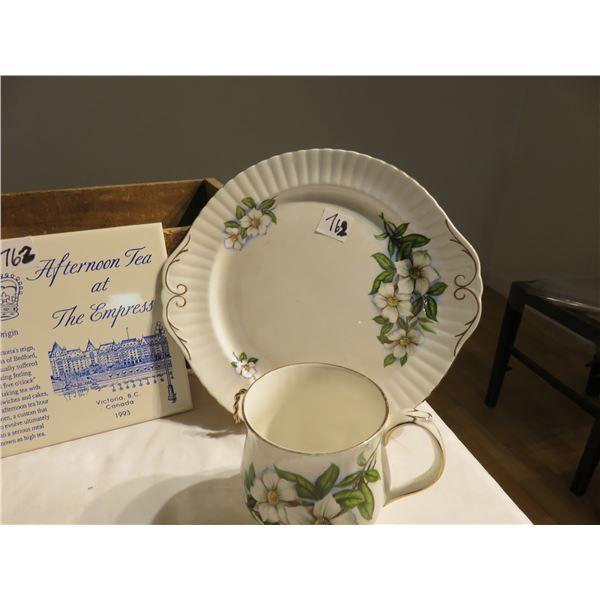 Small petit point picture, 1993 Victoria Empress tile, BC dogwood emblem cup & plate