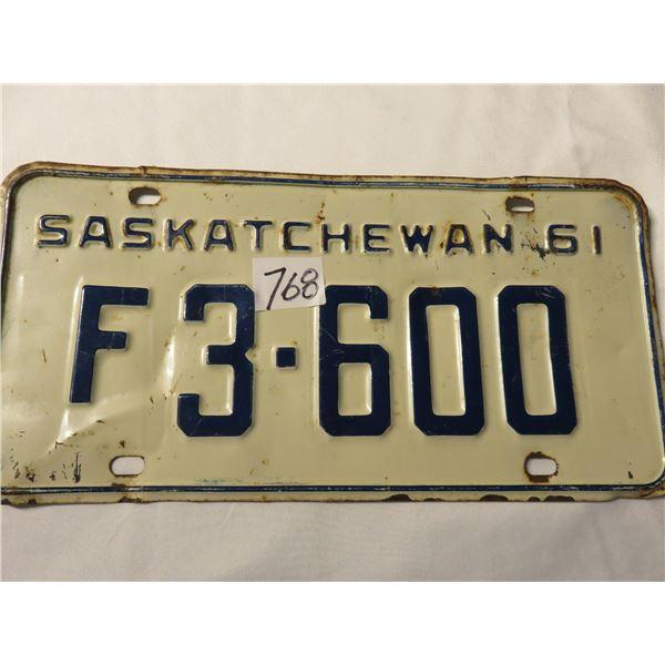 1961 Saskatchewan license plate