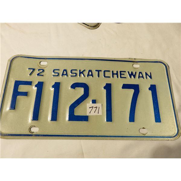 1972 Saskatchewan farm license plate