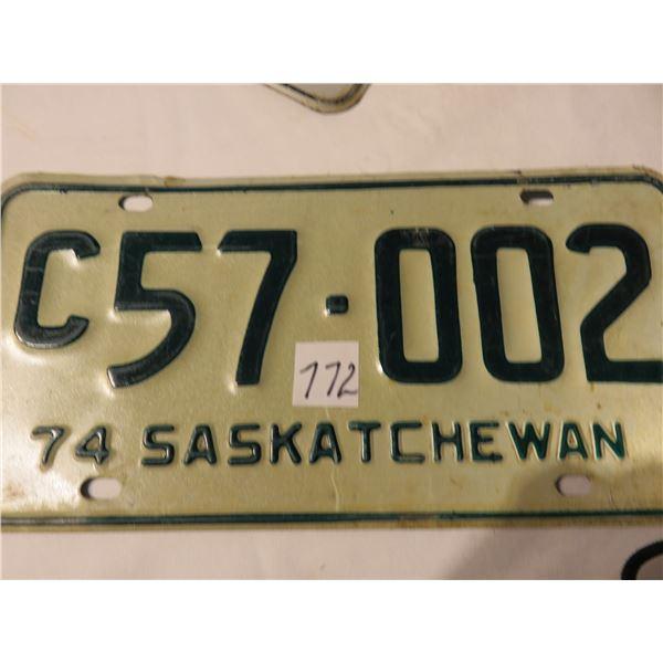 1974 Saskatchewan C license plate - dark green