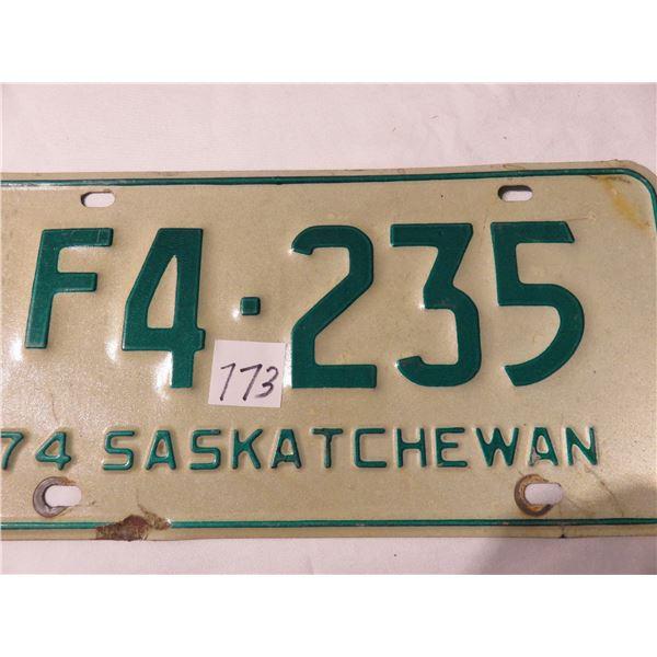 1974 Saskatchewan farm license plate - light green
