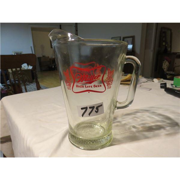 "Miller high life beer pitcher - 9"" tall"