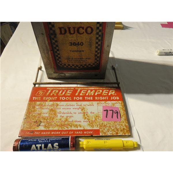 CIL Duro thinner can, true temp metal sign, BA pen, Esso pen, Monroe shock (plastic)