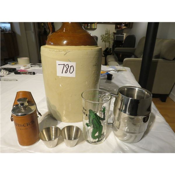 Vintage two gallon jug - Wiser's whiskey flask with cups, a Coor's Light mug & a comical glass