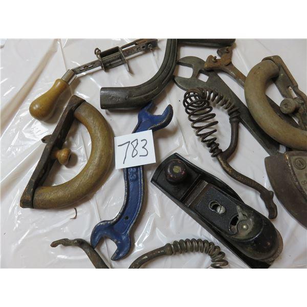 Stove lid lifters - sad iron - small planter - knitting  tool - cream seperator tools