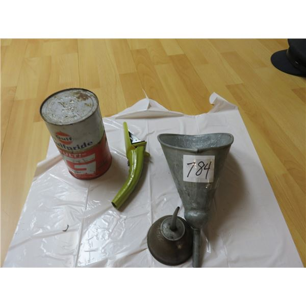 Full quart Gulf oil, eagle roller, vinyl oil spout, James Carter galvanized funnel