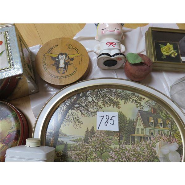 tins - calculator machine - leather flower picture - sailor bank - cruet container - sunshine biscui