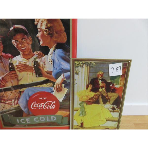 "one tin, 9"" X 16"" Coke picture, 15"" X 26"" paper Coke poster"