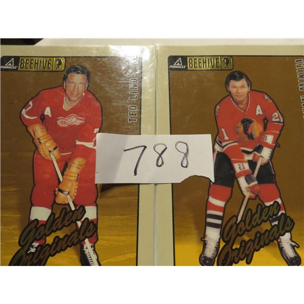 "Three 5"" X 7"" Beehive hockey cards. Oldtimers - Glenn Hall, Stan Mikita, Ted Lindsay"
