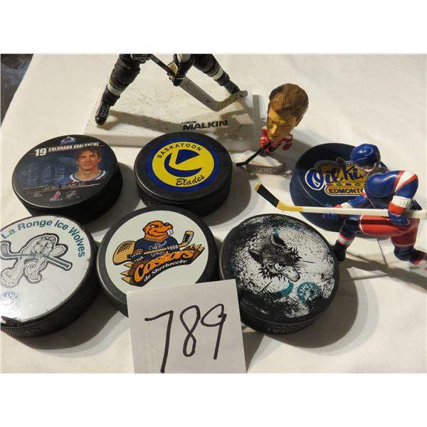 Hockey figures - Malkin, Roenick, Selanne; 6 pucks including Joe Sakic with Colorado & other junior