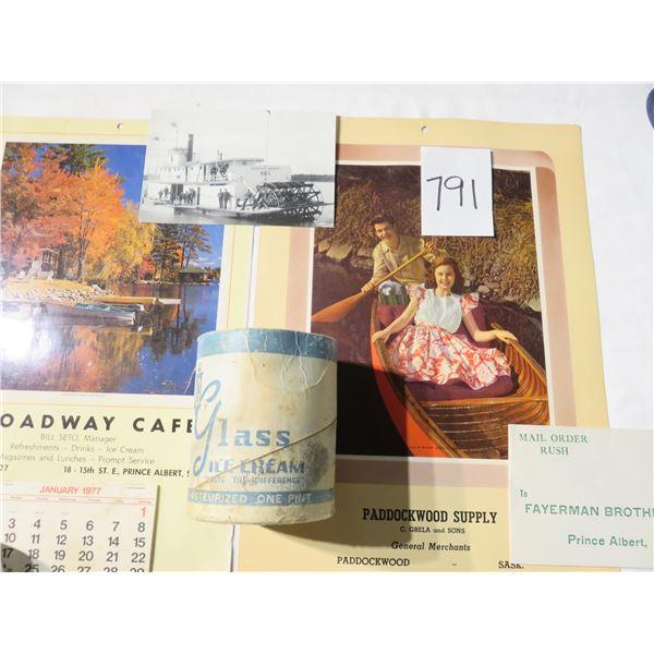 Saskatchewan collectibles - Holy family hospital cup; Paddockwood & Broadway café calendars, Glass d