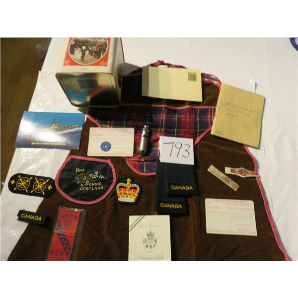 Scottish apron WWII present to wife. Ration token, uniform badges, CFB Shilo, WWII mathcbook cover &