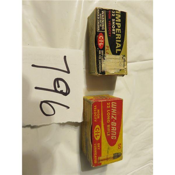 Old whiz bang 22 shellbox, plus full old imperial 22 short box, empty