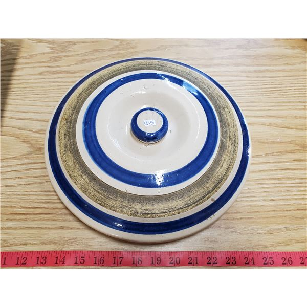 blue stoneware lid fits 4/5 gallon