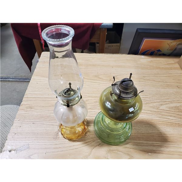 2 coal oil lamps (one w/ chimney)