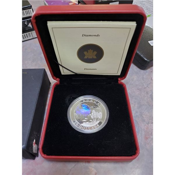 "2004 $20 silver limited edition hologram coin ""natural wonders"""