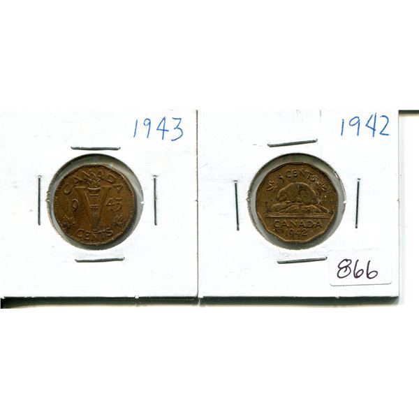 1942+1943 tombac 5 cent