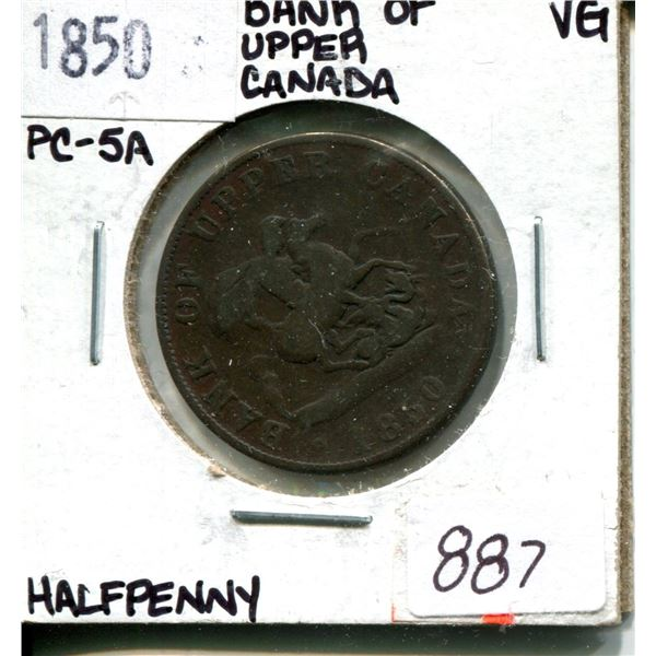 1850 half penny bank of upper canada