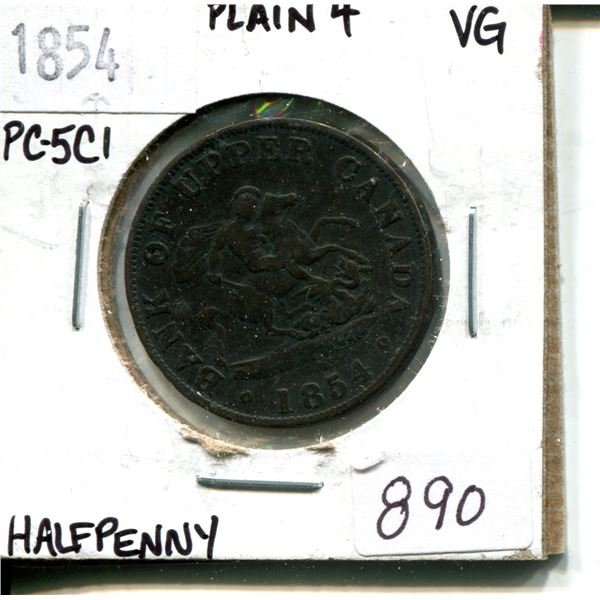 1854 half penny bank of upper canada