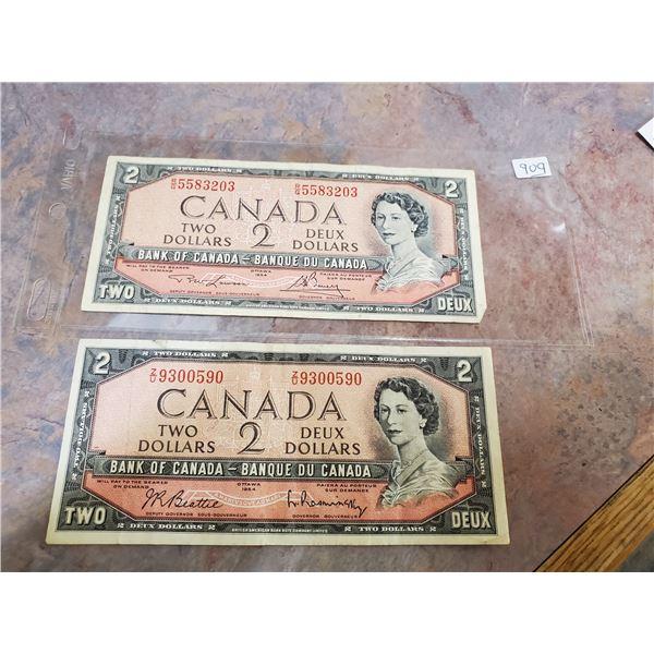 2 x 1954 $2 bills