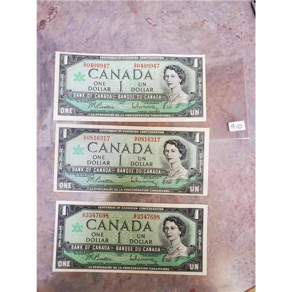 3 x 1967 $1 bills