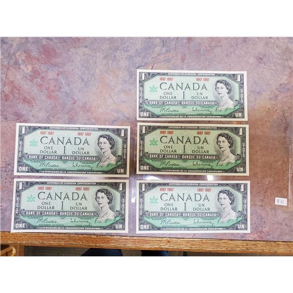 5 x 1967 $1 bills