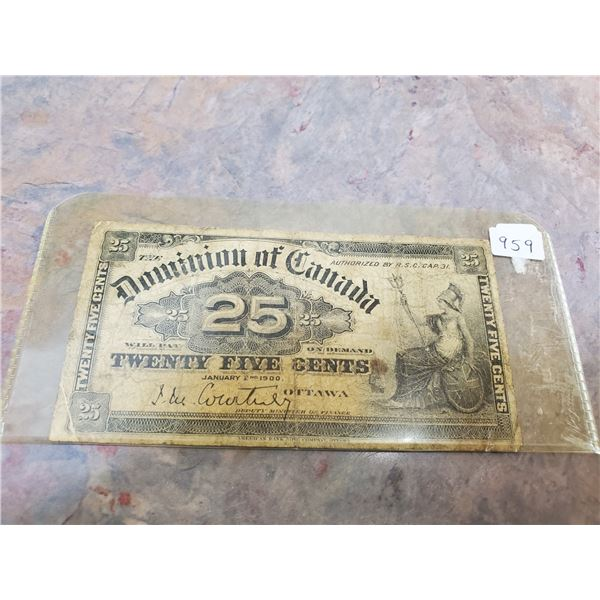 1900 25 cents fractional bill