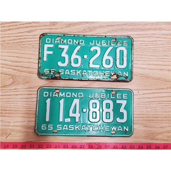 2 x 1965 Diamond Jubilee license plates