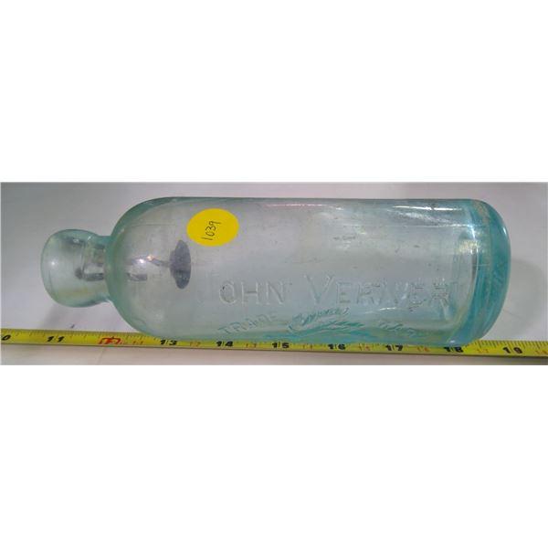 Antique Glass Bottle - John Verner, Blue