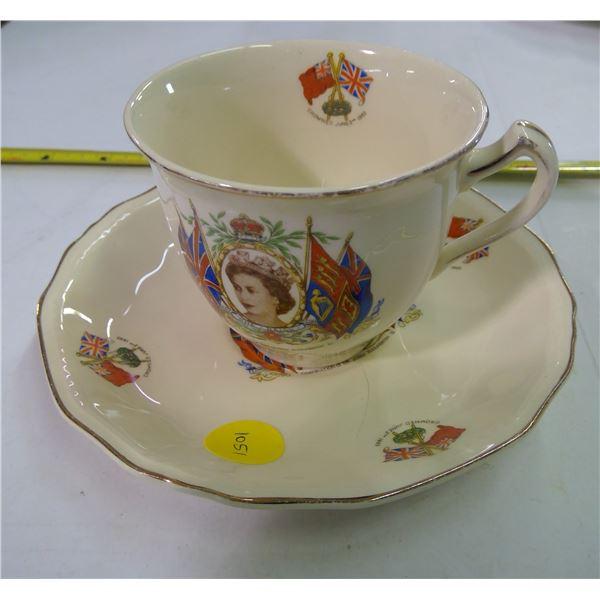 Teacup & Saucer - China - Coronation of Queen Elizabeth II