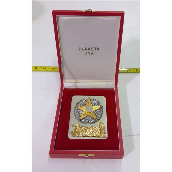 JNA War Plaque/Medal in Case