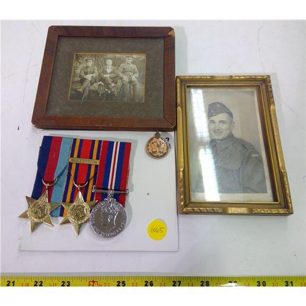 War Memorabilia Lot - Medals & 2 Prints in Frames