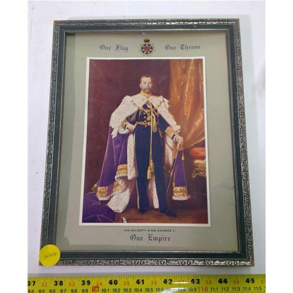 King George Print in Frame - damaged