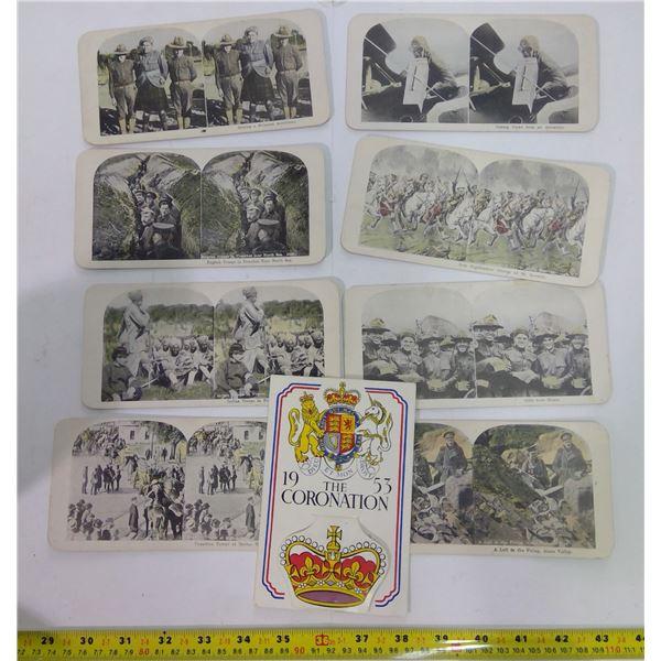 Set of Vintage Stereoscope Cards & 1953 Coronation Postcard