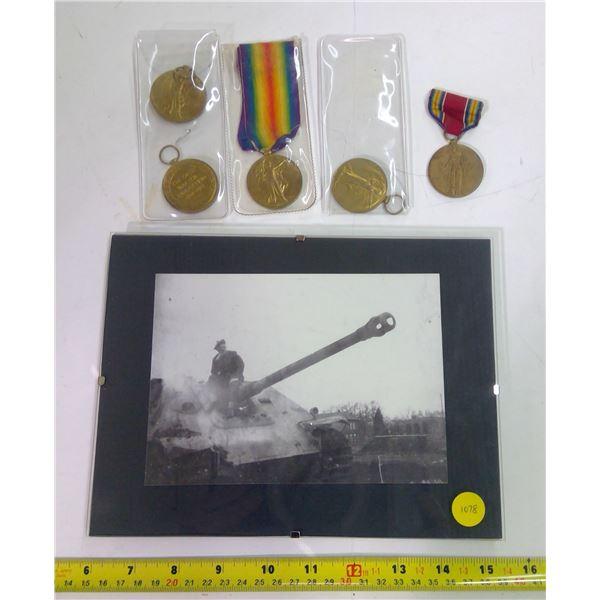 War Print in Frame & Medals