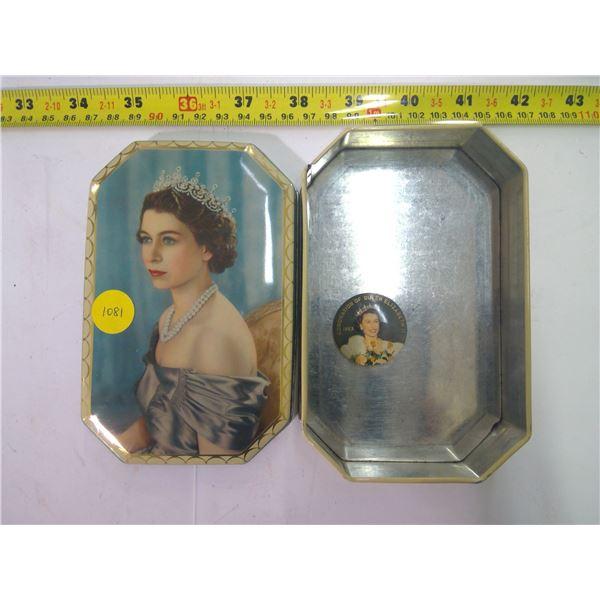 Vintage Tin - Queen Elizabeth II & 1953 Coronation Pin