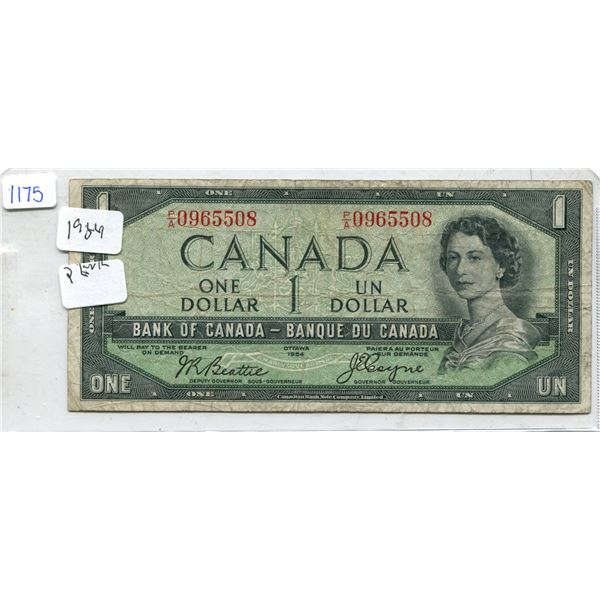 1954 Canadian One Dollar Bill