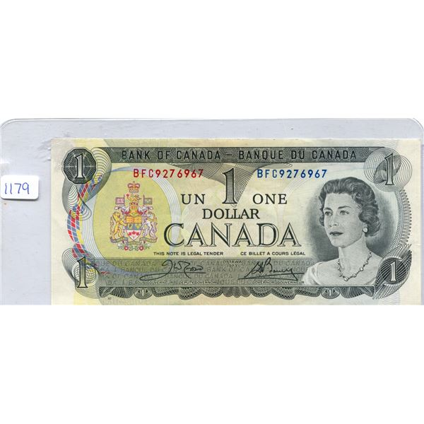 1973 Canadian One Dollar Bill