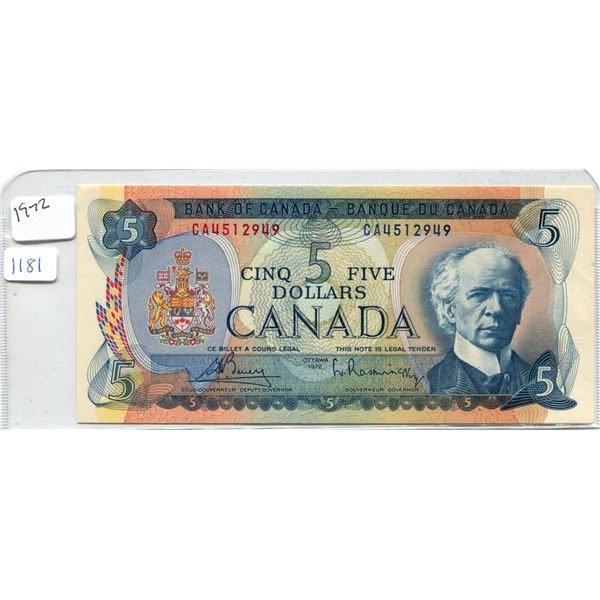1972 Canadian Five Dollar Bill