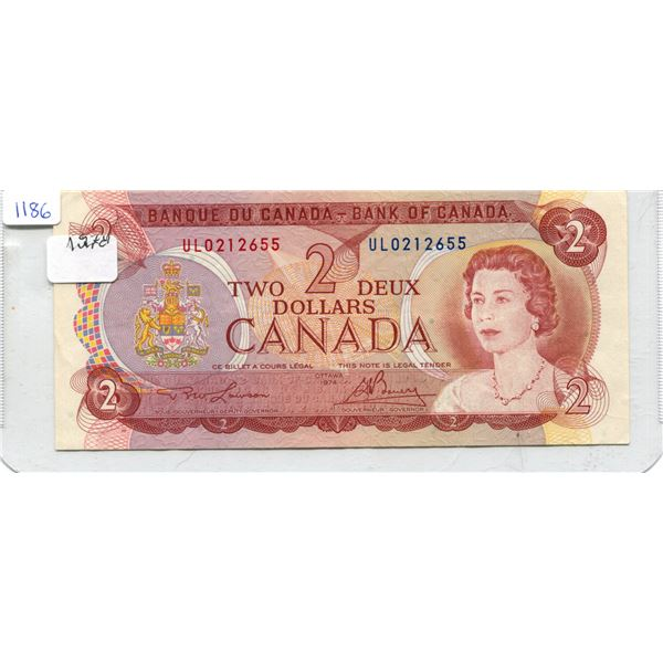 1974 Canadian Two Dollar Bill