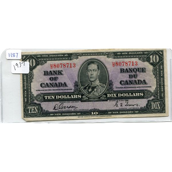 1937 Canadian Ten Dollar Bill