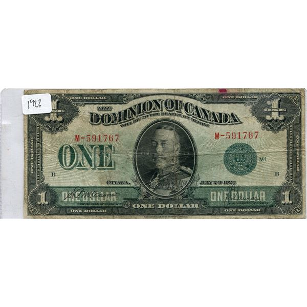 1923 Canadian One Dollar Bill
