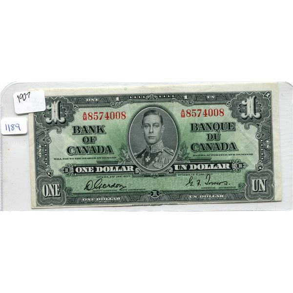 1937 Canadian One Dollar Bill