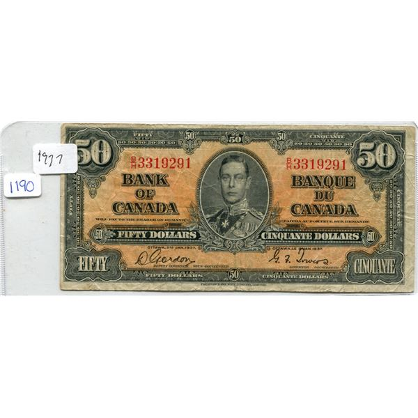 1937 Canadian Fifty Dollar Bill