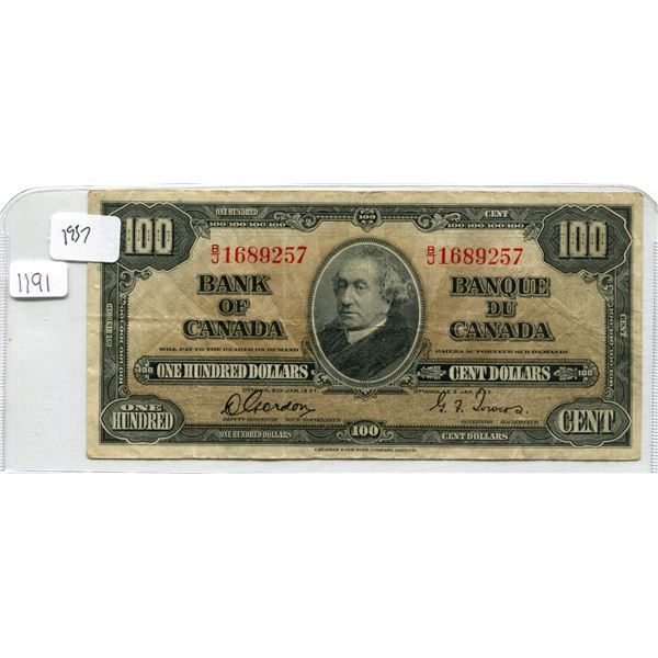 1937 Canadian One Hundred Dollar Bill