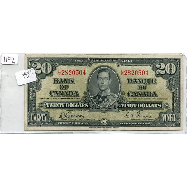 1937 Canadian Twenty Dollar Bill