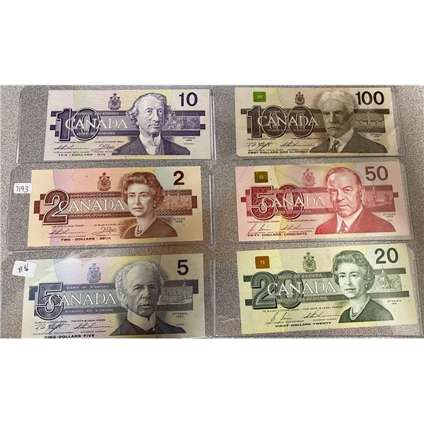 Set Of 6 Canadian Bills 2 Dollars To 100 Dollars